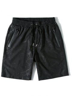Water Printed Casual Beach Shorts - Black M
