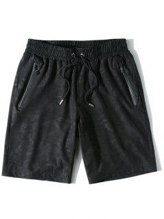 Zipper Pockets Casual Drawstring Shorts - Black L