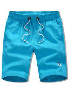 Appliques Solid Color Drawstring Beach Shorts - Blue S