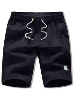 Appliques Solid Color Drawstring Beach Shorts - Black S