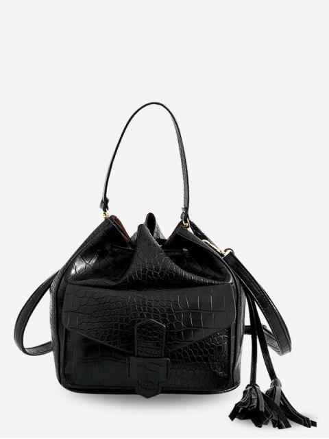 women Striped Leather Drawstring Bucket Shoulder Bag - BLACK  Mobile