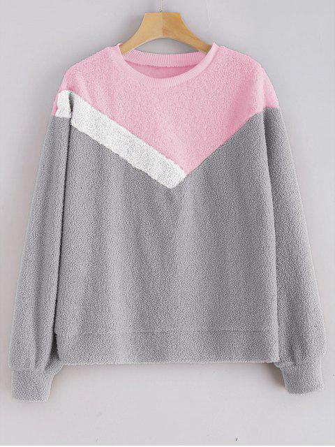 chic Color Block Teddy Sweatshirt - GRAY CLOUD XL Mobile