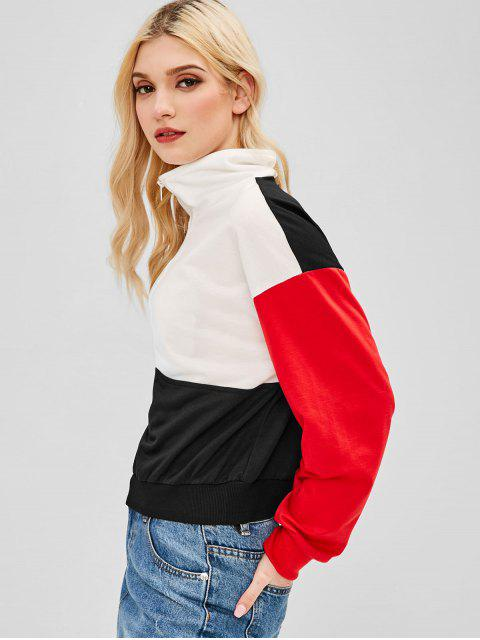 ZAFUL Sweat-shirt à Demi-Zip en Blocs de Couleurs - Multi S Mobile