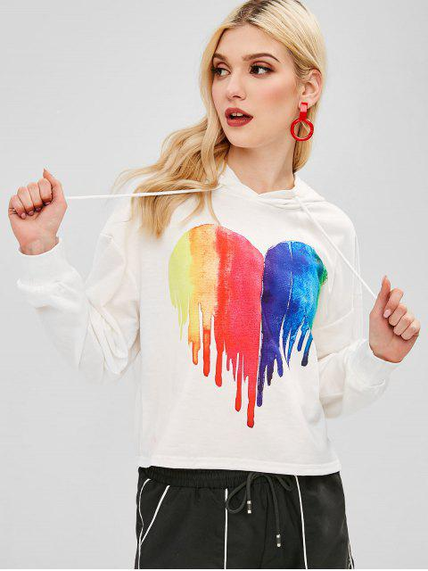 trendy ZAFUL Heart Painting Graphic Hoodie - WHITE S Mobile