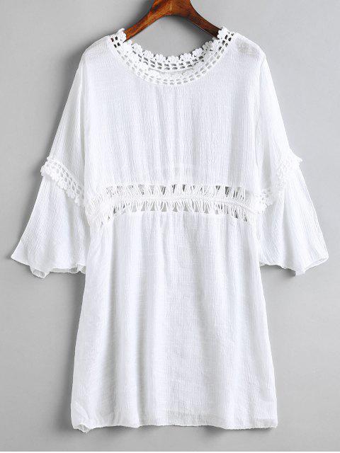 women's Crochet Panel Beach Dress - WHITE ONE SIZE Mobile