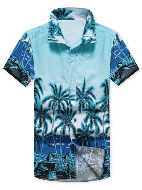 womens Coconut Trees Beach Scenery Print Casual Shirt - BLUE L Mobile