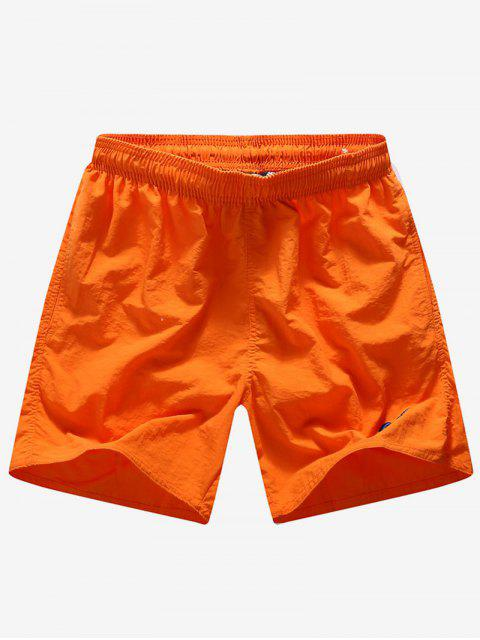 shop Solid Color Embroidery Letters Print Neon Board Shorts - ORANGE XS Mobile