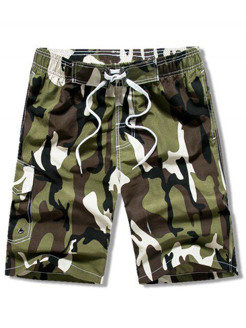 Short Décontracté Camouflage Imprimé à Cordon - Vert Armée  XS Mobile