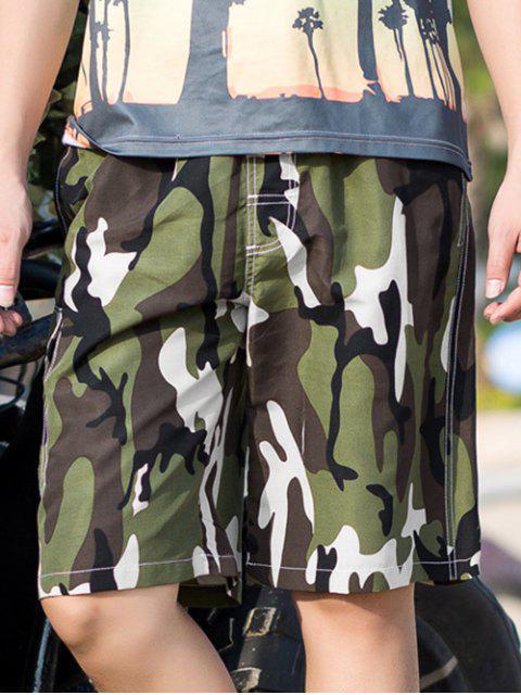 Pantalones cortos casuales con cordón de impresión de camuflaje - Ejercito Verde XS Mobile