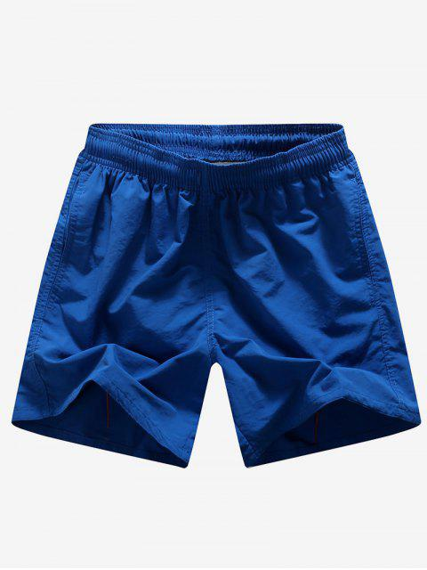 best Solid Color Embroidery Letters Print Neon Board Shorts - DEEP BLUE S Mobile
