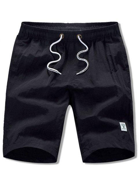 fashion Appliques Solid Color Drawstring Beach Shorts - BLACK M Mobile