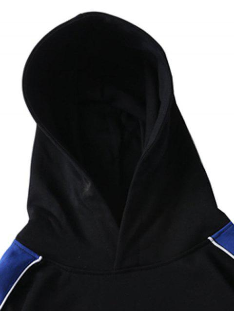 chic Letter Embroidery Color Spliced Pullover Hoodie - BLACK L Mobile