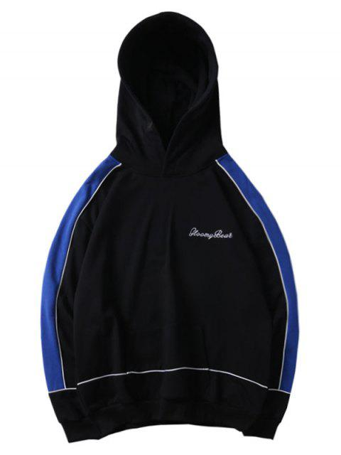 unique Letter Embroidery Color Spliced Pullover Hoodie - BLACK 2XL Mobile