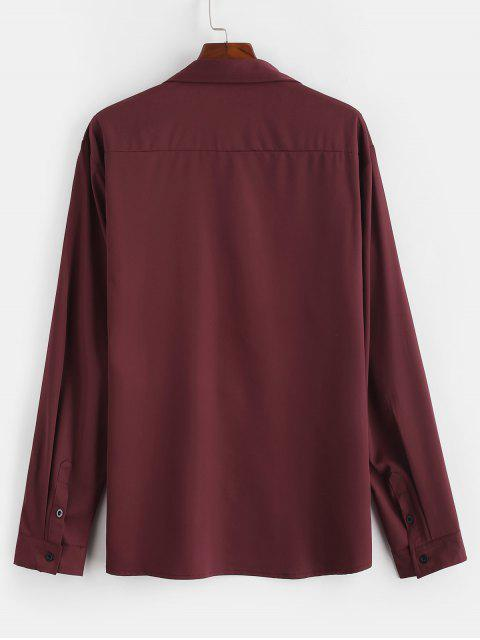 shops Chest Flap Pockets Casual Shirt - RED WINE 2XL Mobile