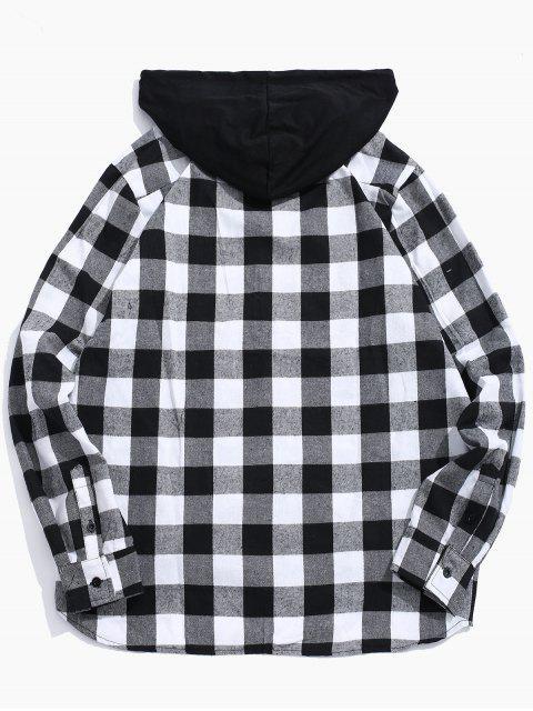 Chemise à Capuche à Carreaux avec Poche à Rabat - Noir 2XL Mobile