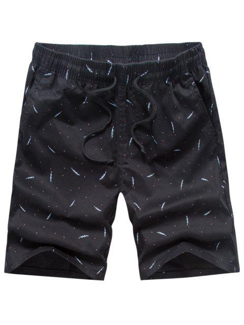 unique Porka Dots Leaves Print Drawstring Board Shorts - BLACK 32 Mobile