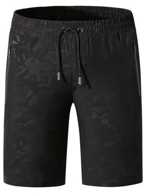 Short Décontracté Zippé avec Poche à Cordon - Noir XL Mobile