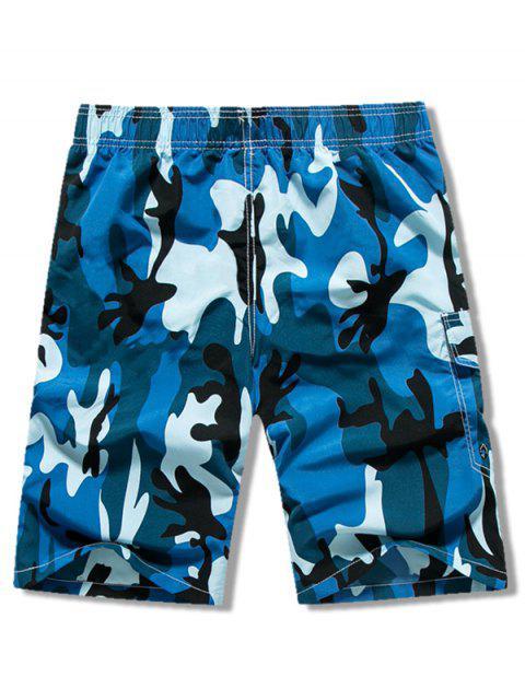 Pantalones cortos casuales con cordón de impresión de camuflaje - Azul S Mobile