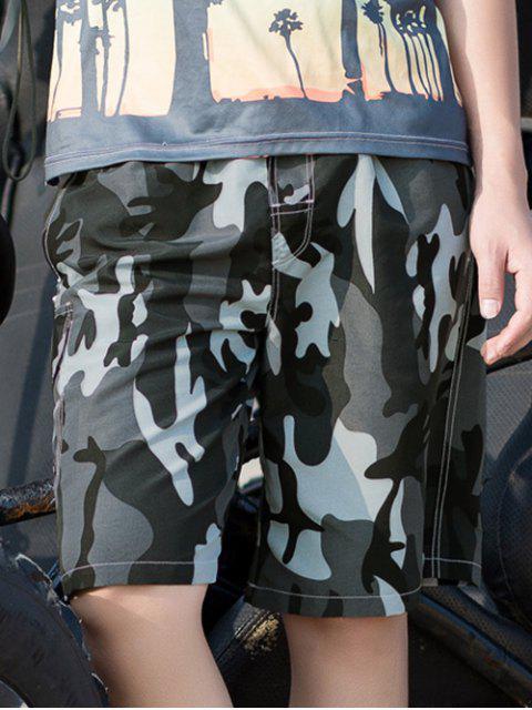 Short Décontracté Camouflage Imprimé à Cordon - Gris L Mobile