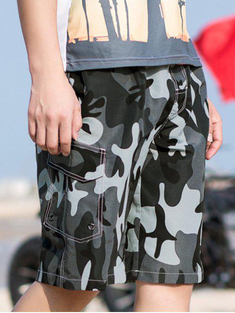 Short Décontracté Camouflage Imprimé à Cordon - Gris S Mobile