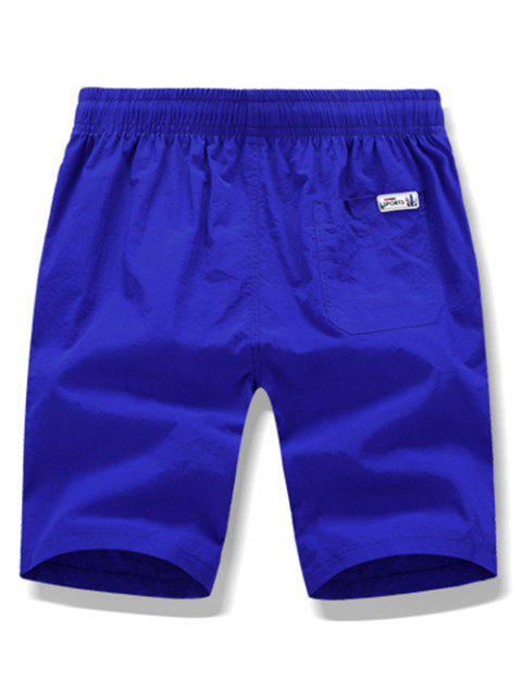 Pantalones cortos de playa con cordón ajustable de color sólido - Azul de Arándanos L Mobile