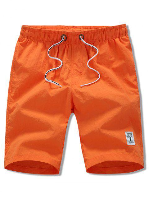 Short de Plage Applique en Couleur Unie à Cordon - Orange M Mobile