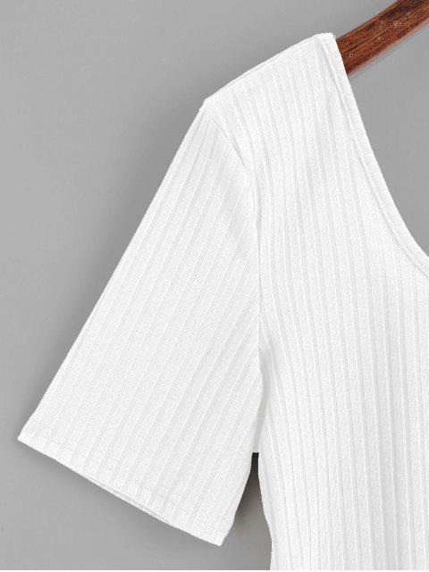 ZAFUL U Neck Ribbed Bodysuit - Blanc L Mobile