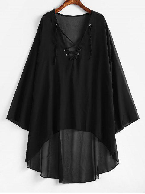 women's Lace-up Chiffon High Low Dress - BLACK 2XL Mobile