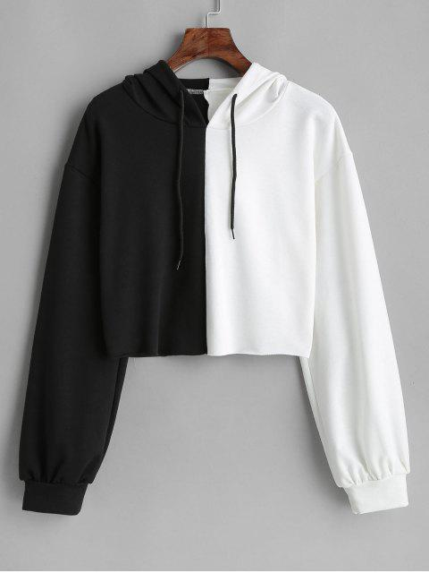 lady ZAFUL Two Tone Cropped Hoodie - BLACK ONE SIZE Mobile
