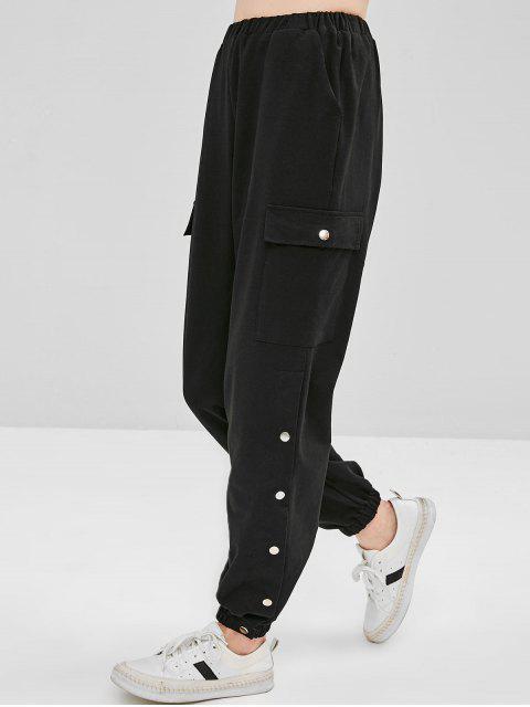 unique Snap Button Letter Embroidered Jogger Pants - BLACK S Mobile