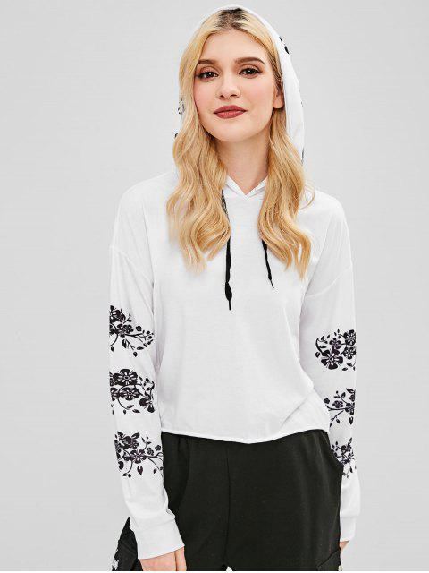 womens Flower Print Pullover Hoodie - WHITE M Mobile