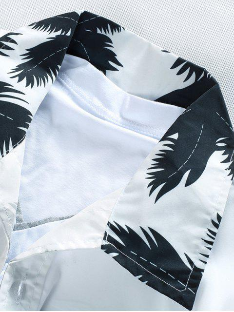 Chemise de Plage Cocotier Imprimé à Manches Courtes - Blanc L Mobile
