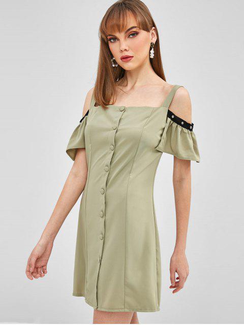 Mini Robe Boutonnée à Epaule Dénudée - Vert Avocat L Mobile