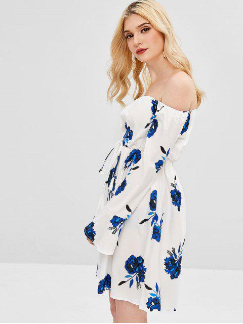 Vestido acampanado con estampado floral en el hombro - Blanco 2XL Mobile