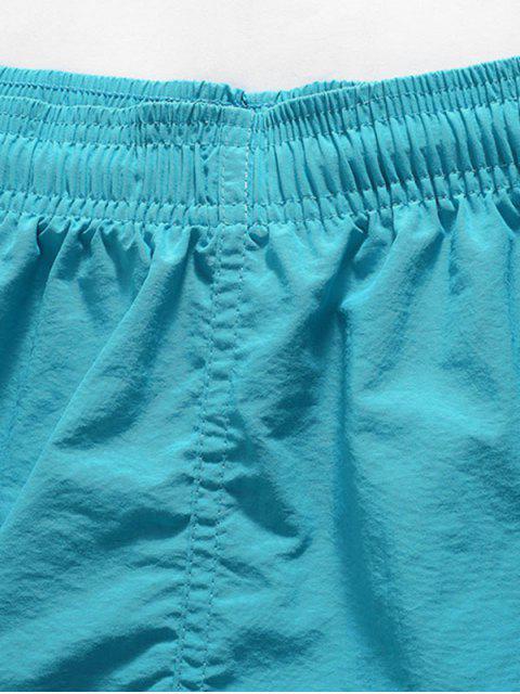 Short de Plage Lettre Brodée Imprimé en Couleur Unie - Bleu Vert Ara  S Mobile