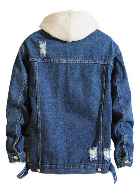 hot Casual Destroy Wash Ripped Denim Jacket - DENIM DARK BLUE 2XL Mobile