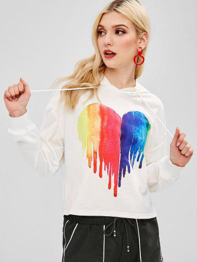 704a9cdde2f438 ZAFUL Heart Painting Graphic Hoodie - White S