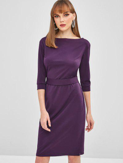 3efce0a86f16 Belted Bodycon Knee Length Dress - Plum Purple S