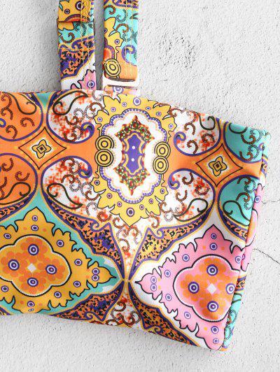 ZAFUL Ethnic Graphic Square Neck Bikini Set, Multi-a