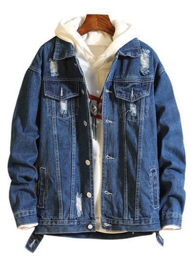 Casual Destroy Wash Ripped Denim Jacket - Denim Dark Blue Xl