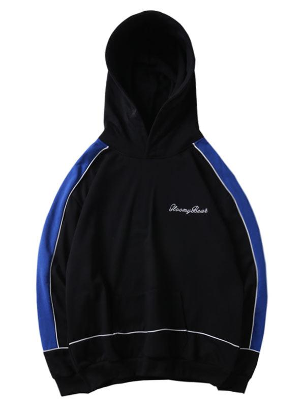 Letter Embroidery Color Spliced Pullover Hoodie, Black