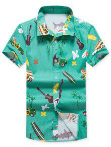 الزهور أشجار جوز الهند طباعة قصيرة الأكمام قميص الشاطئ - أخضر L