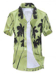 قصيرة الأكمام جوز الهند الأشجار طباعة قميص الشاطئ - الفستق الأخضر L