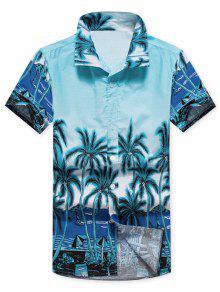 أشجار جوز الهند بيتش مشهد طباعة قميص عارضة - أزرق L
