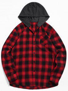 جيب الصدر منقوشة هود خليط قميص - أحمر 2xl
