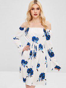 قبالة الكتف الأزهار طباعة اللباس مضيئة - أبيض M
