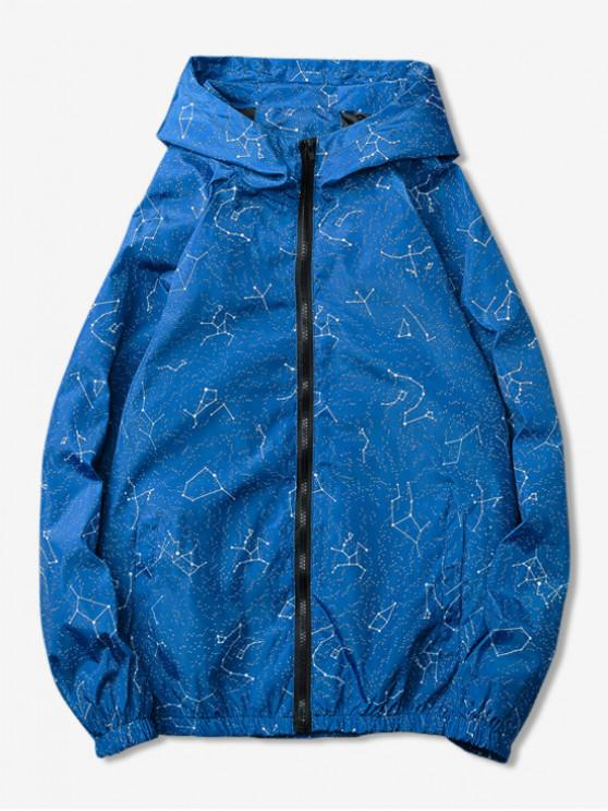 shop Constellations Printed Zipper Jacket - BLUE 3XL