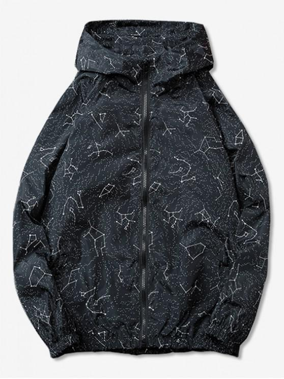 chic Constellations Printed Zipper Jacket - BLACK 3XL