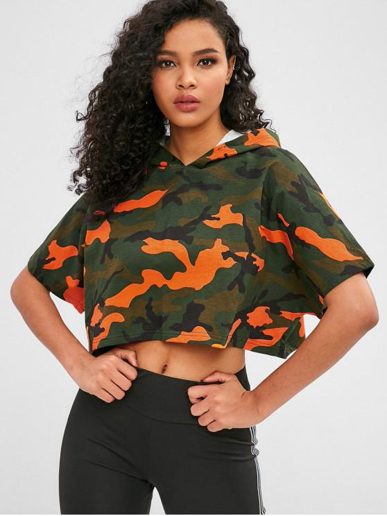 fashion Camo Batwing Sleeve Crop Hoodie - ACU CAMOUFLAGE L