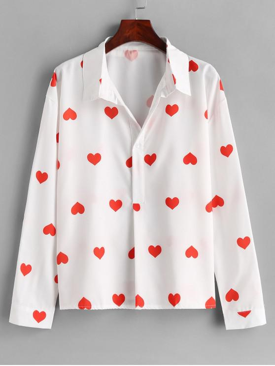 Botón de corazón hasta la camisa - Blanco M